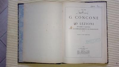 Giuseppe Concone lezioni per Basso o Baritono del 1933